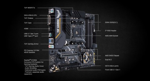 small resolution of  asus tuf b450m pro gaming am4 amd b450 micro atx motherboard 90mb10a0 m0eay0