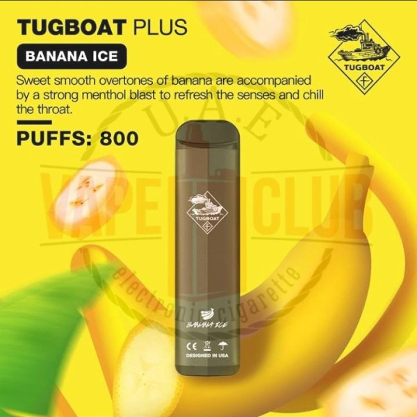 BANANA ICE TUGBOAT PLUS DISPOSABLE 5% We have more Products for Vape IQOS Device, Heets, Myle kits & Pods, Juul kits & Pod, Disposables vape Buy Uaevapeclub.com