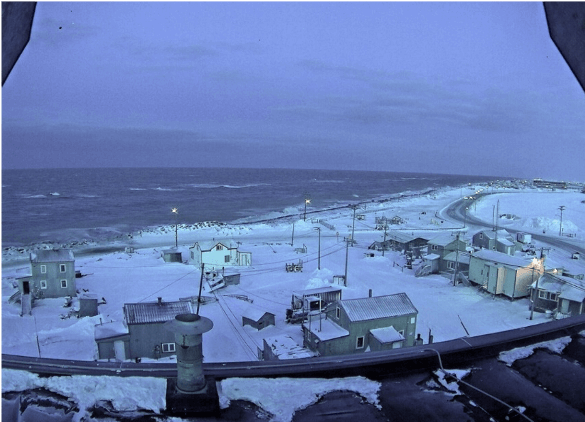 Utqiaġvik 28 November 2019 Sea Ice Camera Photo at noon There was very little sea ice this autumn at Utqiaġvik and record low sea ice extent in the Chukchi Sea. Strong west winds on November 28 produced minor coastal flooding that closed roads.