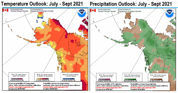 Temperature and Precipitation outlooks July-September 2021