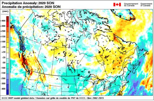 Very few precipitation anomalies this season.