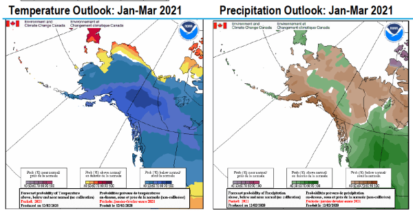 Temperature and Precipitation Outlooks: Jan - Mar 2021