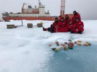 The Trans-Arctic Ice (TICE) team members (and me) posing for a picture before boarding the ship. (photo by Vladimir Bogdanov)