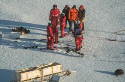 A corer extension being used to take out an ice core that is more than two meters (6 ft) deep (photo by Ben Rabe).