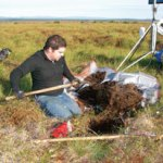 Busey prepares to put temperature instruments into a soil pit on the Seward Peninsula. (Photo: J. Cherry)