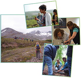 Summer School photos from top, clockwise: A field study of forest fires, Caribou Poker Creek Research Watershed in Fairbanks (Photo: V. Alexeev); Discussing project work (Photo: Y. Bult-Ito); Examining soil composition in a deciduous forest in Fairbanks (Photo: T. Saito); Examining a proglacial stream in the Canwell glacier area in the Alaska Range (Photo: T. Saito).