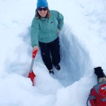 Digging a snow pit on the Juneau Icefields. (Photo: E. Hood)