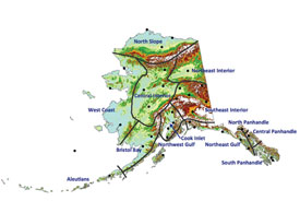 """Climate division boundaries over Alaska topography, with division names (Bieniek et al., 2012). Black dots indicate locations of Alaska stations used in the cluster analysis. """"Interior"""" Alaska actually has three distinctive climate regions—Northeast Interior, Central Interior, and Southeast Interior, as shown here."""