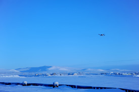 UAF and FAA staff test the Aeryon Scout unmanned aeronautical system at the Nome Harbor. (Photo: J. Cherry)