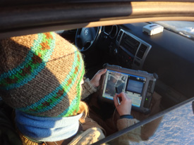 Cherry uses a map-based touch-screen interface to guide the UAV over areas of interest. (Photo: G. Walker)