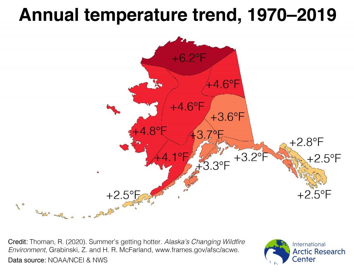warmer temperatures map