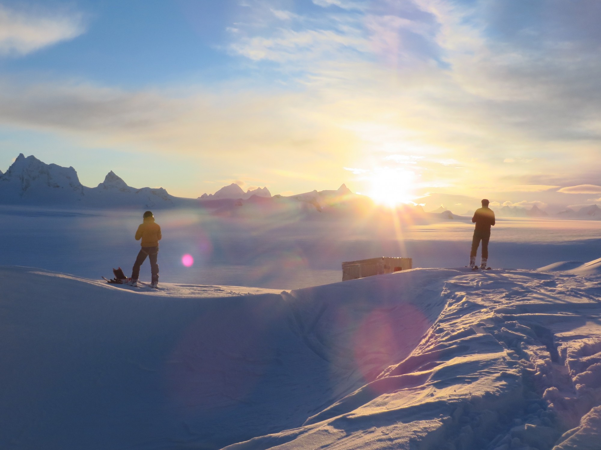 Researchers travel by ski to remote locations on the Juneau Icefield to collect snow and melt measurements in April 2015.