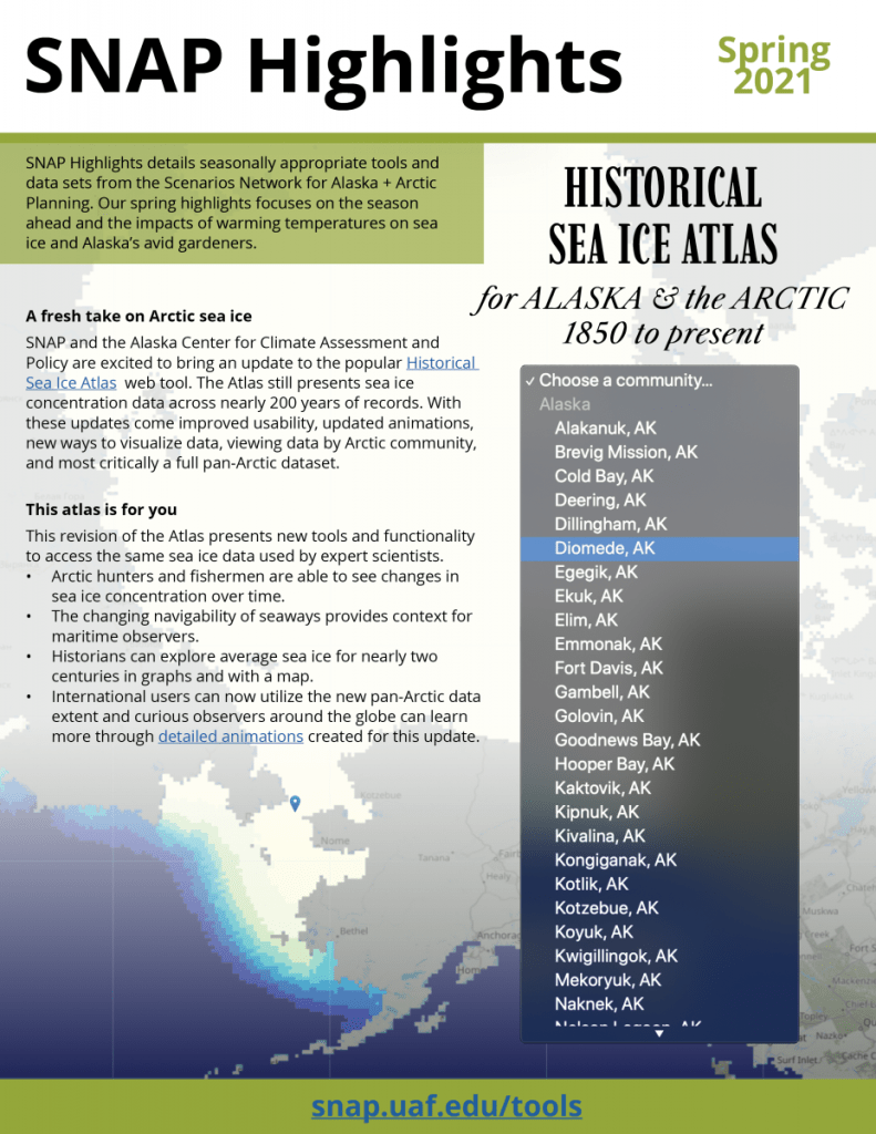 A thumbnail of the front page of the Spring 2021 SNAP Highlights document shows text alongside a map of Alaska sea ice and a stylized community dropdown menu.