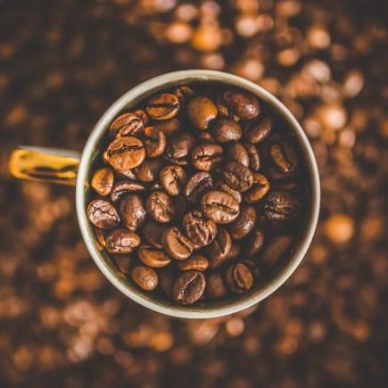 Café Arábica. Foto de uma xícara de café cheia e rodeada de grãos de café.