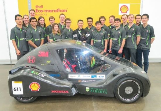 The University of Alberta's eco-car team won their category at Shell's Eco-marathon event in Detroit in April, punching their ticket to a world championship competition in London, England. The students will race their hydrogen-powered car on July 3 against teams from around the world. Photo Supplied, Shell International Limited.
