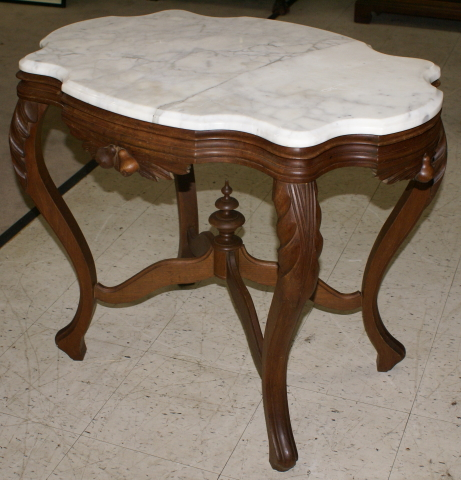 marble living room table sets tv unit design for with wallpaper victorian solid walnut turtle top parlor