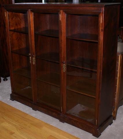 Mahogany 1920s antique inlaid triple glass door bookcase