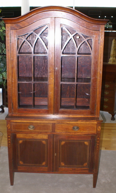 Mahogany inlaid 19th century antique two piece china cabinet