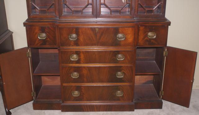 two piece mahogany breakfront china cabinet