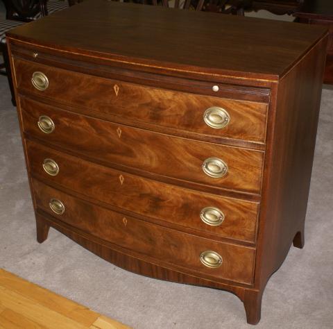Bow front antique walnut Hepplewhite dresser