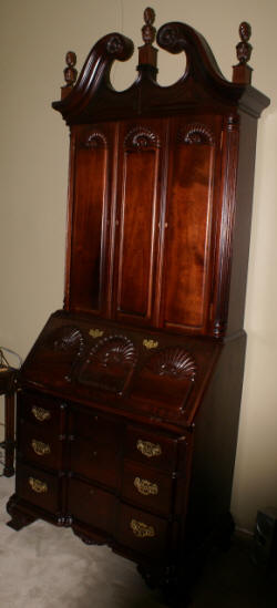 Mahogany Chippendale Block Front Shell Carved Two Piece