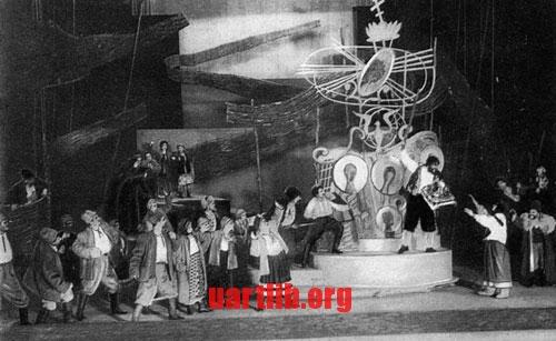 """Вадим Меллер - Сцена з вистави """"97"""" М.Куліша, 1930"""