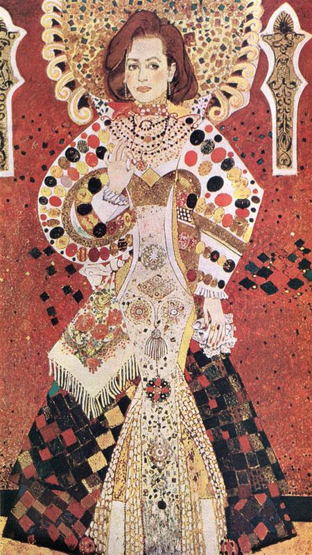 Віктор Зарецький - Портрет народної артистки УРСР Т. Цимбал. Олія, мішана техніка, 1987.