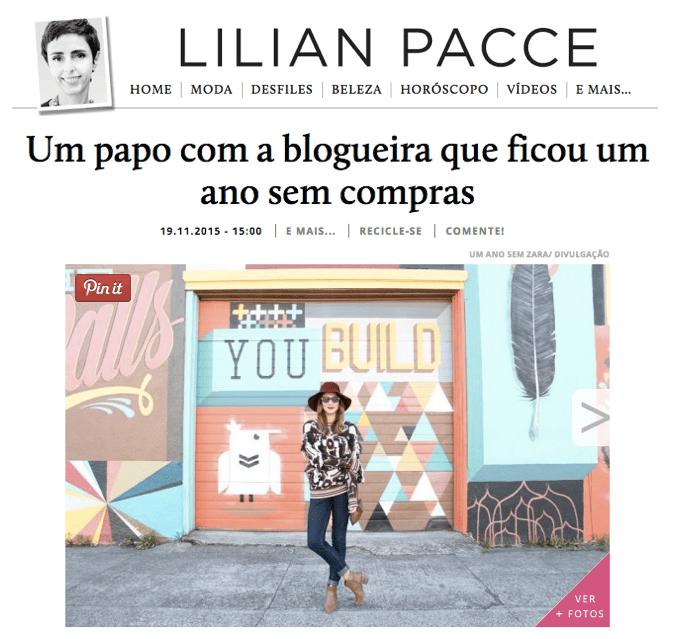 Entrevista da Jojo do blog Um Ano sem Zara para o site da Lilian Pacce