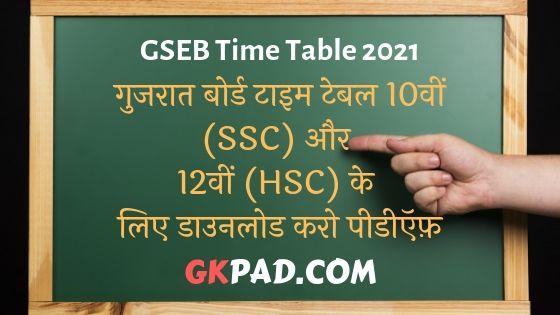 Gujarat Board Time Table 2021