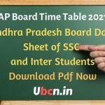 Andhra Pradesh Board Time Table 2021