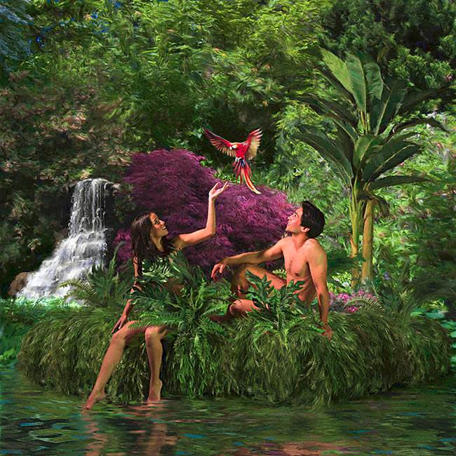 God placed Adam and Eve in a beautiful garden filled with good things to eat.