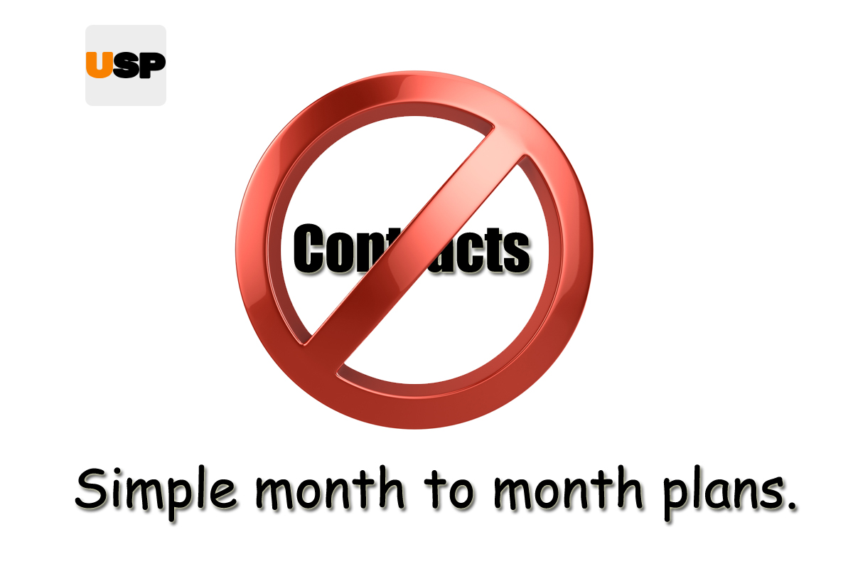 No Contracts. Simple month to month plans.