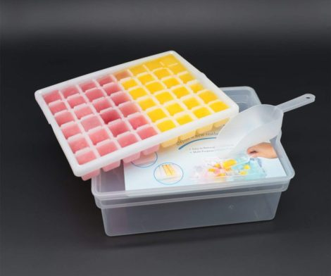 Ice Cube Tray Storage Box With Spill Resistant Lid