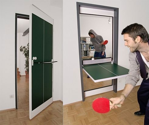 Table Tennis Door – Door That Folds Down Into a Ping Pong Table