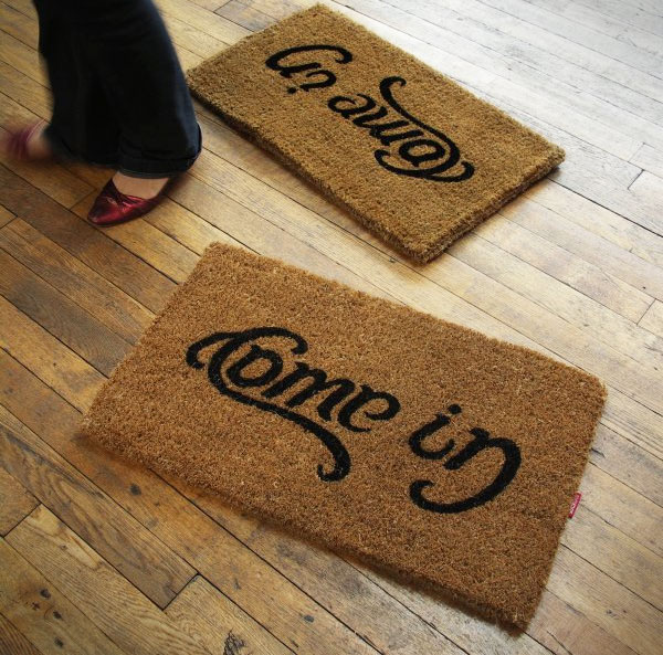 Come In Go Away Ambigram Doormat