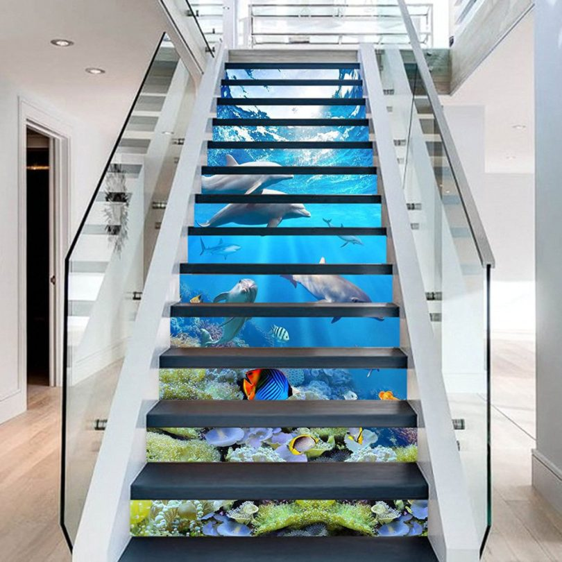 Dolphin Coral Stair Risers Mural