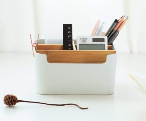 Desk Supplies Multipurpose Bamboo Desk Organizer