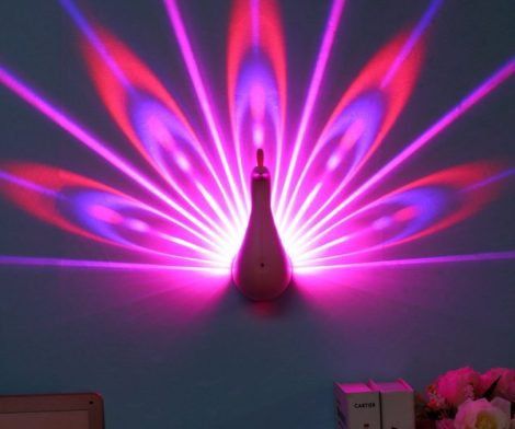 Night Light Peacock Projector Lamp