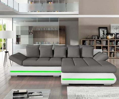 Sectional Sleeper Sofa Couch with Storage and LED Lights