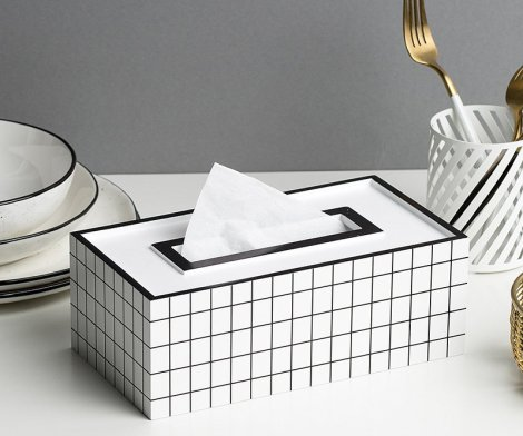Black and White Grid Tissue Box Cover