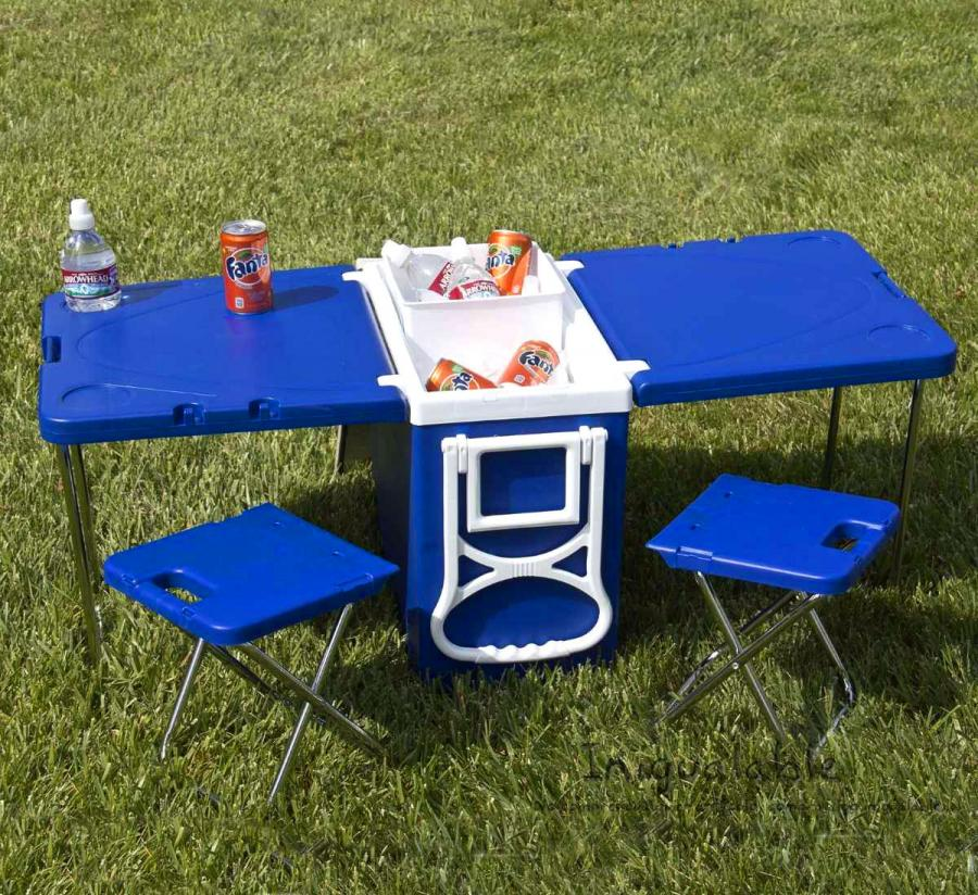 Cooler With Fold-out Table and Chairs – Mini Picnic Table Cooler