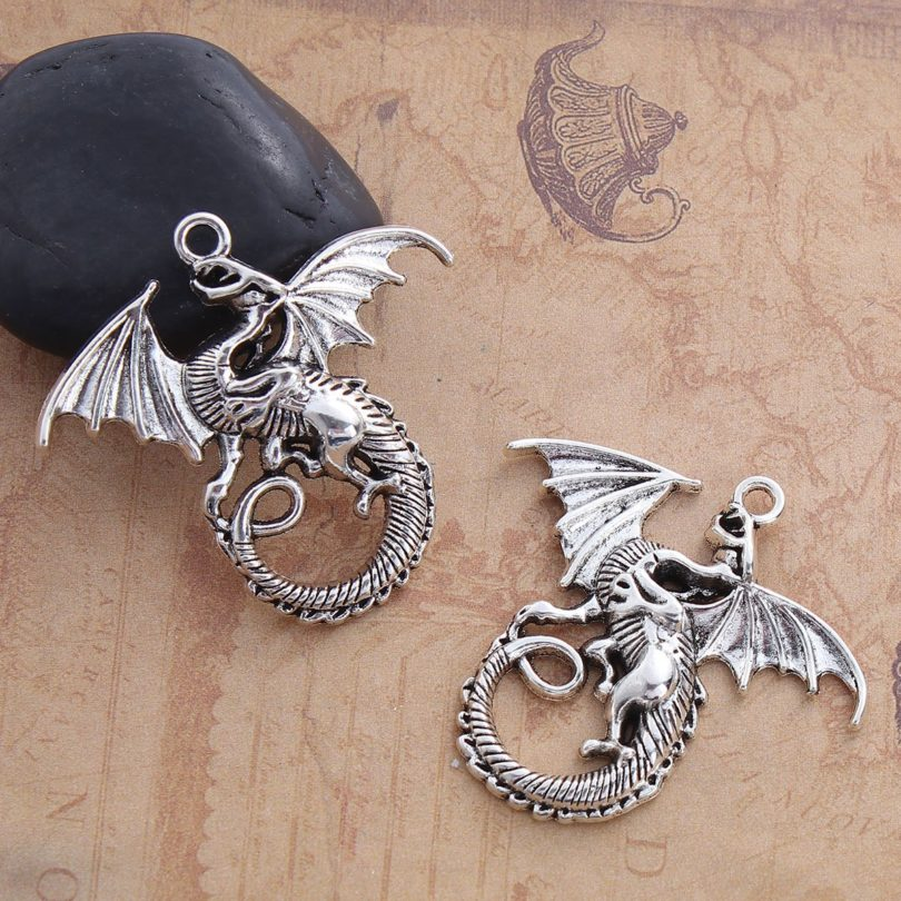 Antique Silver Tone Dragon Charm Pendants