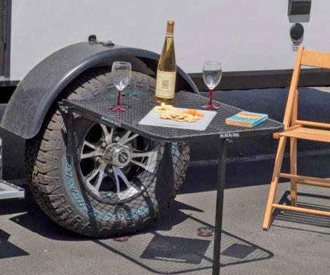 Vehicle Tire-Mounted Camping Table