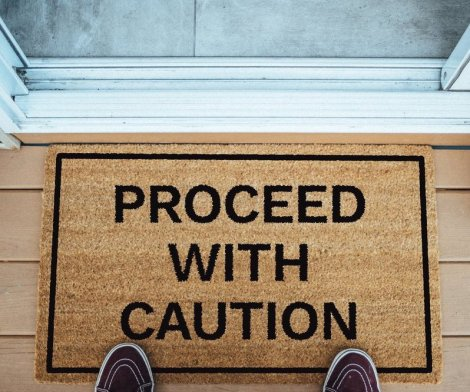 Proceed With Caution Funny Doormat