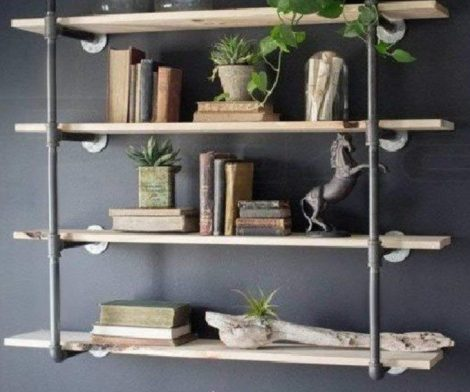 Wall Mount Iron Pipe Shelf