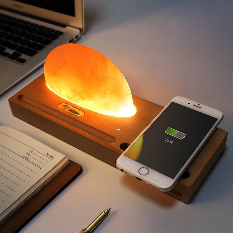 Salt LED Lamp with Wireless Charger