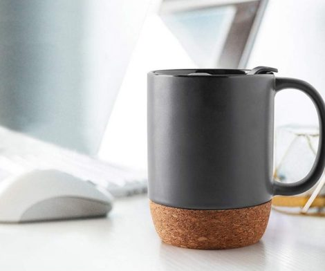 Ceramic Coffee Mug with Insulated Cork