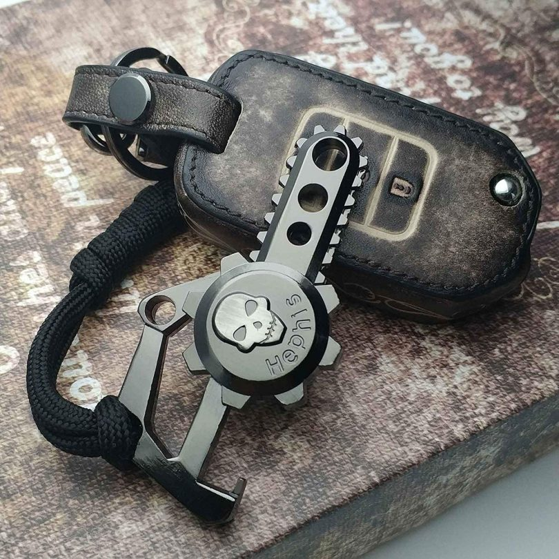 Chainsaw Skull Car Keychain with Bottle Opener