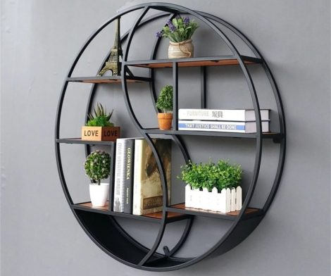 Wall-Mounted Retro Iron Shelf