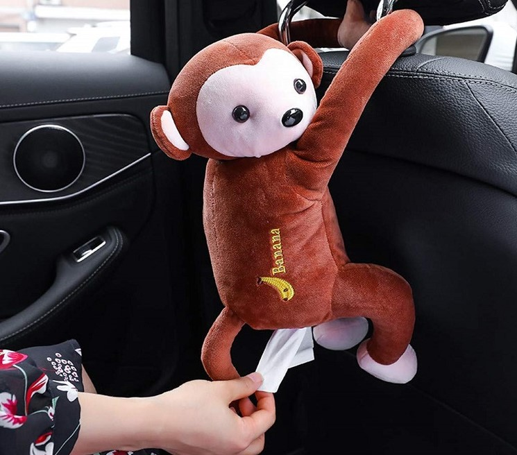Cute Hanging Monkey Tissue Box for Car, Home & Bathroom